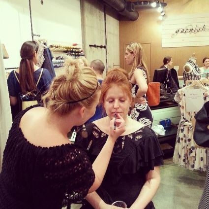 Claudine Ebel of Ebel Artisty painting the perfect summer lips at Moulagerie Trunk Show- Garnish, Portland.