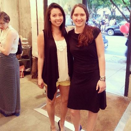 Mia Bell with Kate Troyer of Wippowillow Textiles at Moulagerie Trunk Show, Garnish boutique Portland, Oregon