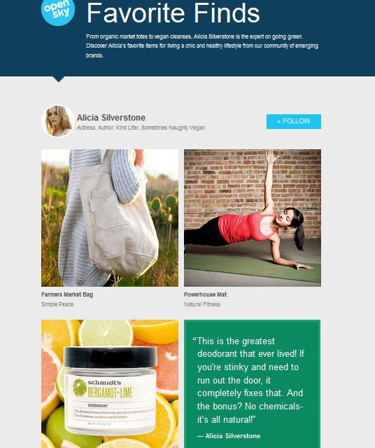Alicia Silverstone's Favorite Vegan Finds On Opensky Schmidt's Deodorant