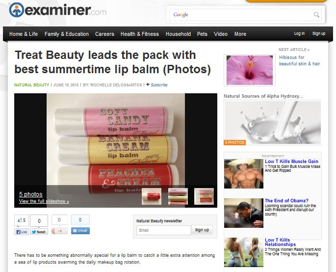 Examiner.com beauty article: Treat Beauty leads the pack with best summertime lip balm.
