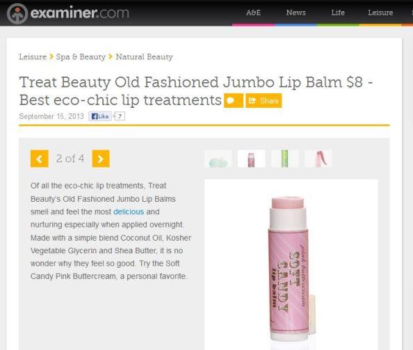 Examiner.com Best Eco-chic lip treatments- Treat Beauty