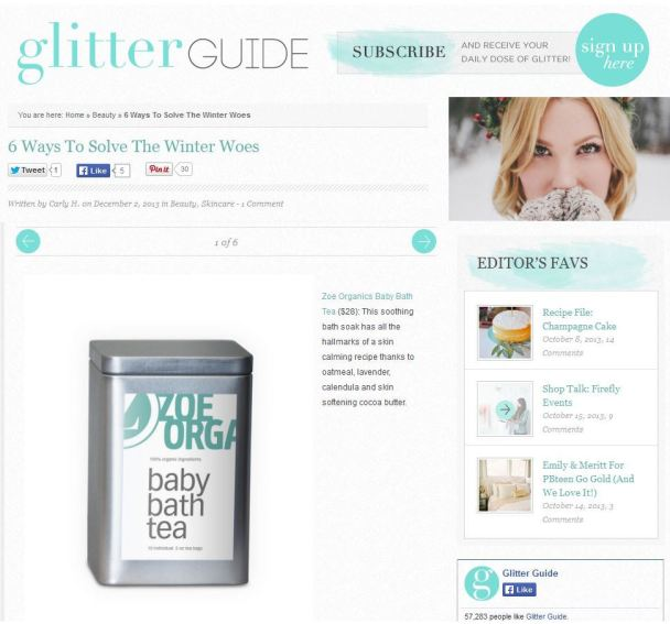Glitter Guide features Zoe Organics Baby Bath Tea featured on Glitter Guide