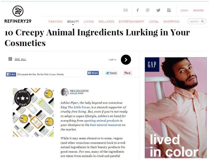 Schmidt's Deodorant featured on Refinery29 Ashlee Piper Little Foxes Blog