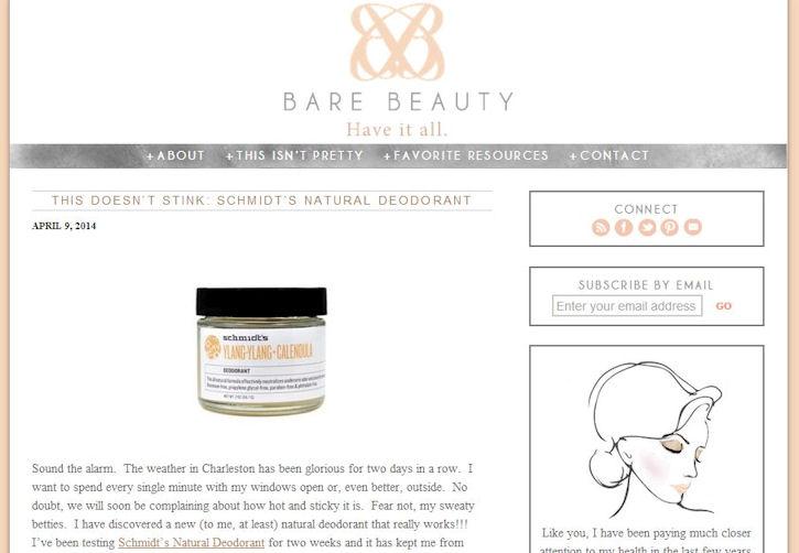 Bare Beauty blog product review Schmidt's Deodorant