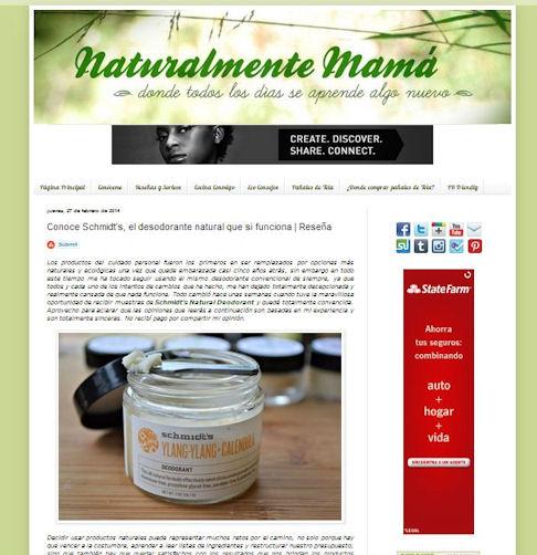 Naturalmente Mama Spanish Review Schmidt's Deodorant