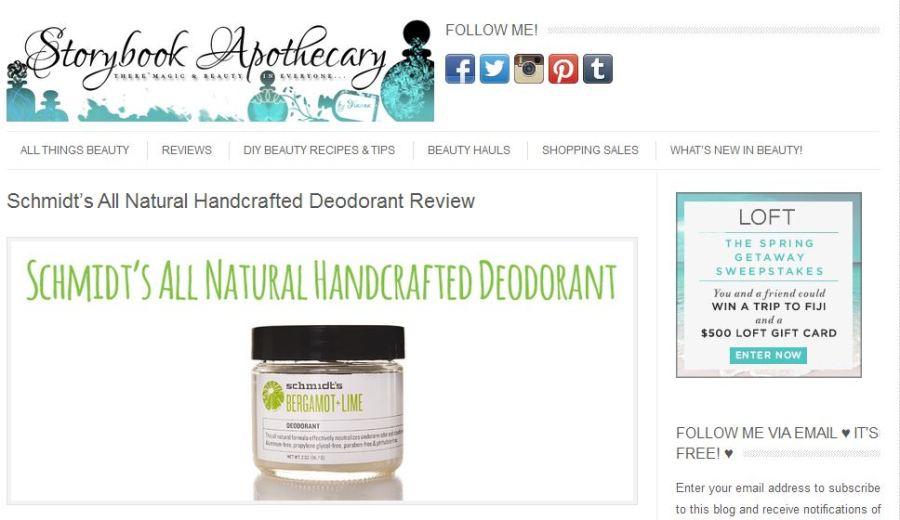 Storybook Apothecary blog reviews Schmdit's Deodorant