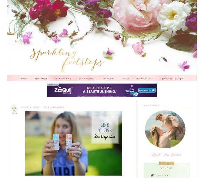 Zoe Organics featured on Sparkling Footsteps blog